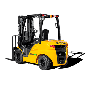 Hyundai 25d-9e diesel forklift white background rear view
