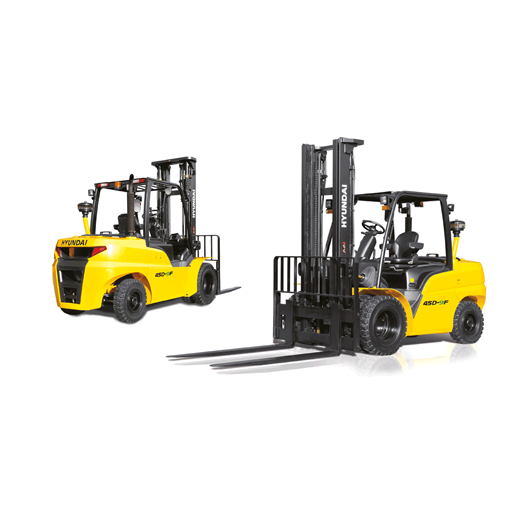 Hyundai 45d-9f diesel forklift white background front view rear view