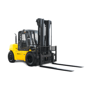 Hyundai 80d-9 2 diesel forklift white background side view