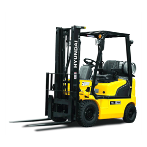 Hyundai 15l-7m lpg forklift white background side view