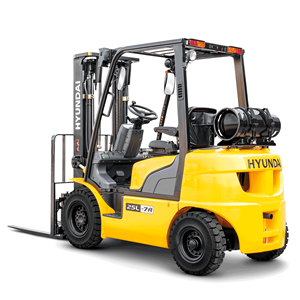 Hyundai 25l-7a lpg forklift white background rear view side view