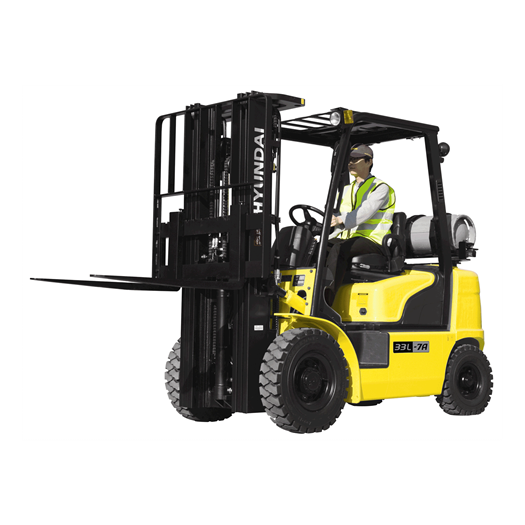 Hyundai 33l-7a lpg forklift white background left side view with driver operator
