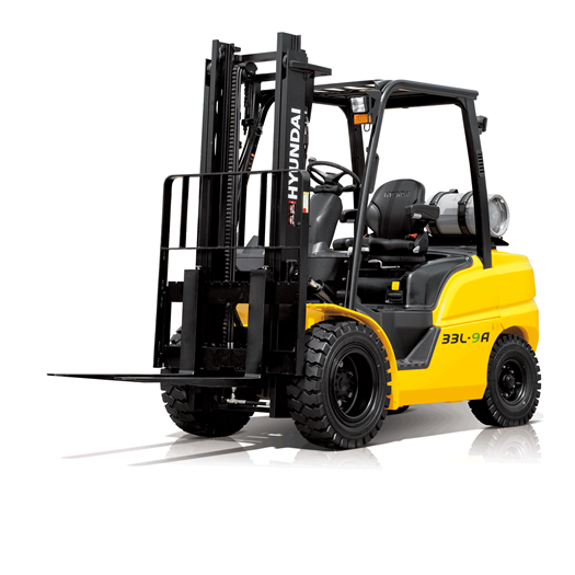 Hyundai 33l-9a lpg forklift white background front view